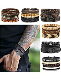 24 Pcs Woven Leather Bracelet for Men Women Cool Leather Wrist Cuff Bracelets Adjustable