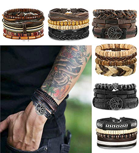 LOLIAS 24 Pcs Woven Leather Bracelet for Men Women Cool Leather Wrist Cuff Bracelets ()