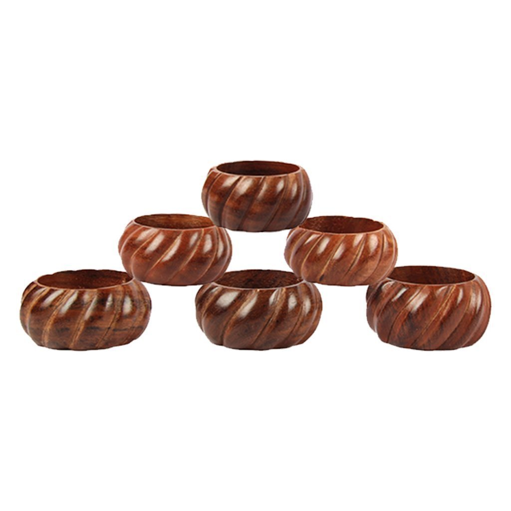 aheli Handmade Party Decor Wooden Napkin Rings Set of 6 for Table Dinner Decoration Icrafts India