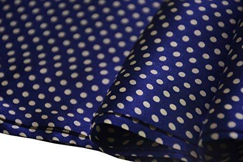 Ellettee, 63'' x 11'' Man's 100 Pure silk scarf wrap Accessory gift (BlueWhite Polkadot) by Ellettee (Image #3)