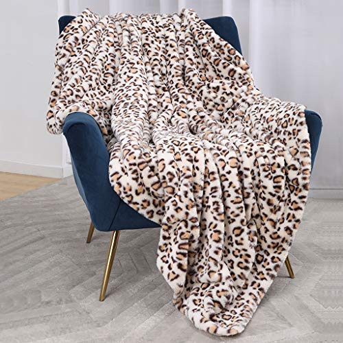 Luxury Faux Fur Throw Blanket, Super Soft Fuzzy Cozy Warm Fluffy Plush Hypoallergenic Reversible Blankets for Bed Couch Chair Fall Winter Spring Living Room (50 x 60) - Beige Leopard Print (Blanket Plush Leopard)