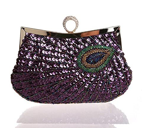 Latest Fashion Stylish Women Full Shining Sequins Beaded Rhinestone Peacock Embroidery Clutch Purse Handbag Evening Bag Hard Case with Rhinestone Studded Clip Closure for Lady with Metal Shoulder Straps-Purple
