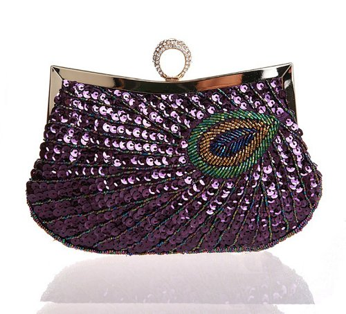 Latest Fashion Stylish Women Full Shining Sequins Beaded Rhinestone Peacock Embroidery Clutch Purse Handbag Evening Bag Hard Case with Rhinestone Studded Clip Closure for Lady with Metal Shoulder (Purple Full Rhinestones)