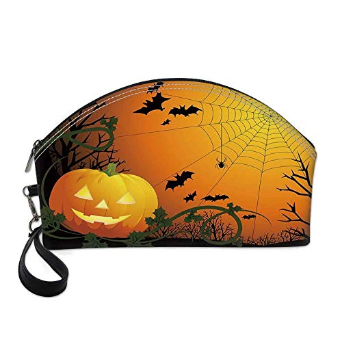Halloween Bat Eyeshadow (Spider Web Small Portable Cosmetic Bag,Halloween Themed Composition with Pumpkin Leaves Trees Web and Bats Decorative For Women,Half Moon Shell Shape One)