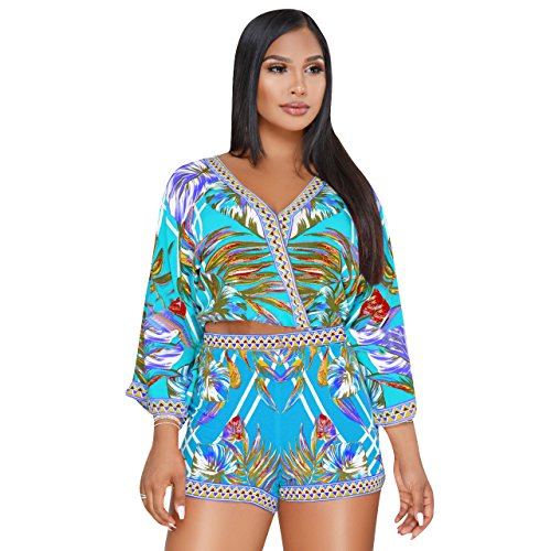 Womens Plus Size African Print Inspired Bohemian Tops and Shorts Set Blue M (Ties African Inspired)