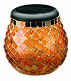 Smart Solar 3772WRM1 Glass  Mosaic Solar T-Light, Amber