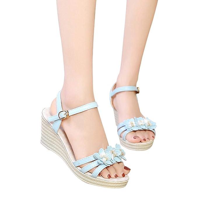 Bestow Cuña de Color sólido para Mujer con Flores, Hebilla de estrás, Zapatos Casuales, Zapatos Frescos, Mocasines Casuales, Sandalia: Amazon.es: Ropa y ...
