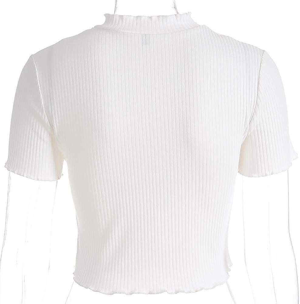 Maglietta Bianca con Ricamo Manica Corta da Uomo Harajuku Kawaii