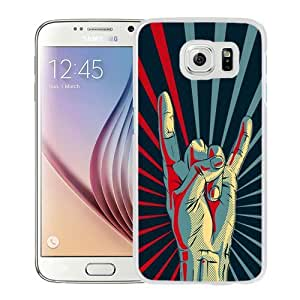 Fashionable Custom Designed Samsung Galaxy S6 Phone Case With Rock Hand Gesture Sign_White Phone Case