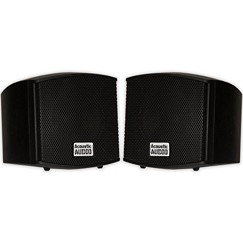 Acoustic Audio AA321B Mountable Indoor Speakers 400 Watts Black Bookshelf Pair (Wall Computer Speakers Mounted)