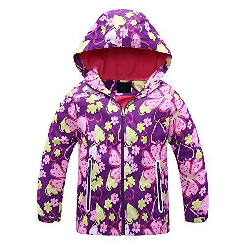 Jingle Bongala Boys Girls Rain Jackets Outdoor Light Waterproof Jackets with Fleece Hooded Coat-Pink Flower-120