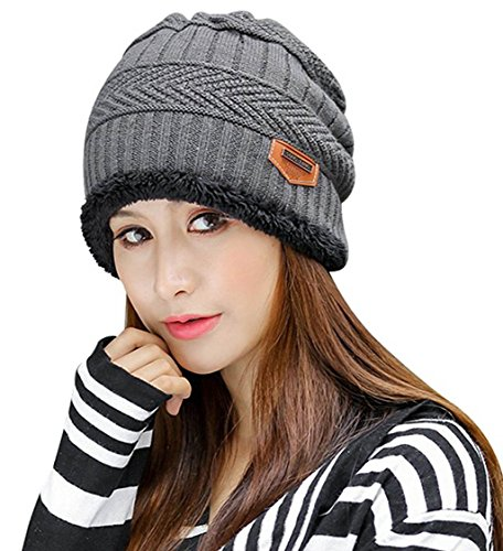 HINDAWI Womens Slouchy Beanie Winter Hat Knit Warm Snow Ski Skull Cap, Grey