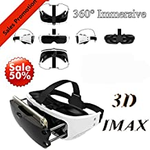 """3D VR Headset/Glasses for iPhone & Samsung, Tsanglight Virtual Reality Goggles Movie Game 360 Viewer for iPhone X 8 7 6 Plus Galaxy S8 S7 S6 Edge 3.5-6.0"""" IOS/Android/PC Cellphone Christmas Gift"""