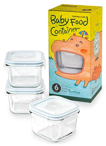Glasslock 6pcs Set Yum Yum Eco Friendly Airtight Spill Proof Baby Meal Food Storage Container Square 210ml ()