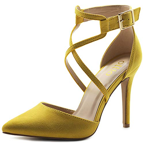 Ollio Women's Shoes Faux Suede Ankel Buckle Cross Straps Pointed Toe High Heels Pumps H96 (9 B(M) US, Yellow)