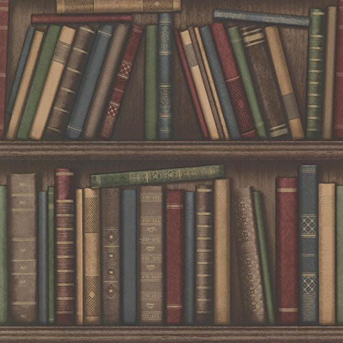Beacon House 2604-21229 Atheneum Antique Books Wallpaper, Burgundy