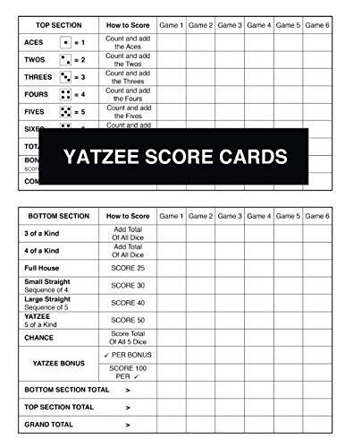 (Yatzee Score Cards (Large Book With Many Pages Of New Score Sheets For Counting Points And Recording Your Totals To See Who Is The Eventual Winner))