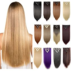 """[Promo] 23"""" Long Straight Curly Wavy Full Head Clip in Hair Extension 8 Pcs 18 Clips Real Thick Heat Resistance Synthetic Hairpiece for Women Girls (Light Brown)"""