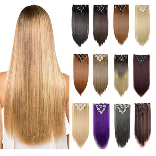 """[Promo] 26"""" Long Straight Curly Wavy Full Head Clip in Hair Extension 8 Pcs 18 Clips Real Thick Heat Resistance Synthetic Hairpiece Women Girls (Natural Black)"""