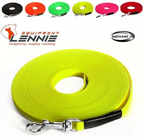 Extra leichte Schleppleine aus 9 mm Super Flex BioThane® / 1-30 Meter [1 m] / 6 Farben [Neon-Gelb] / genäht / ohne Handschlaufe