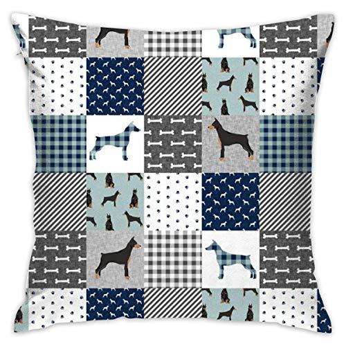 (YANAIX Pillowcases Doberman Pinscher Pet Quilt B Cheater Quilt Dog Breed Nursery Collection_356 Decorative Pillow Case Home Decor Pillowcase (18x18 Inches) Colourful)