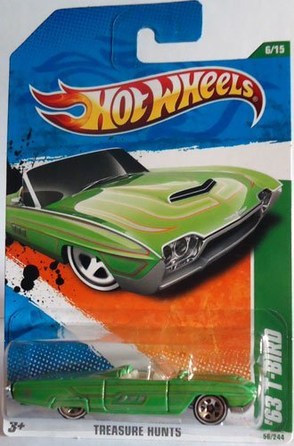 Convertible 1963 Ford (2011 Hot Wheels '63 T-Bird (1963 Ford Thunderbird convertible) T-Hunt 6 of 15 #56 Green regular treasure hunt)