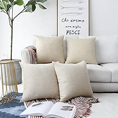 Home Brilliant Decorative Lined Linen Square Throw Pillow Cases Protectors Cushion Covers for Sofa, Set of 4, Light Linen, 45 cm - Easy to change: Super smooth invisible zipper closure for easy insertion and washing. Invisible zipper closure can be opened around 32-34cm for the cushion insertion. Color: Light Linen. Measures: 18x18 inch, tailored for 18x18 inch insert. Package include 4 PCs cushion covers. No cushion insert. Matching table runner and palcemats are available at Home Brilliant. - living-room-soft-furnishings, living-room, decorative-pillows - 51ZQpP%2BedLL. SS400  -