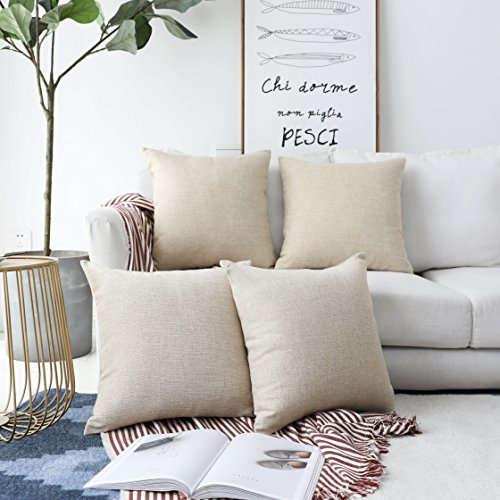 HOME BRILLIANT Decorative Lined Linen Square Throw Pillow Cases Protectors Cushion Covers for Sofa, Set of 4, Light Linen, 45 cm (Accent Beige Pillows)