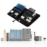 Wonyered 40-piece Professional Art Sketching Pencils Set Drawing Pencils Set Charcoals Graphite Pencils Supplies With Sticks Tools and Kit Bag