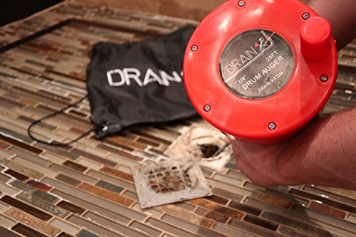 Plumbing Snake Drain Auger   25-Ft Drain Snake Cable with Work Gloves and Storage Bag by DrainX (Image #7)