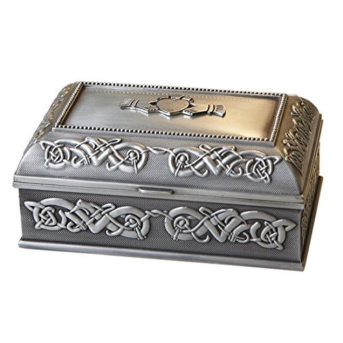 Handcrafted Irish Claddagh Jewelry Box by Mullingar Pewter