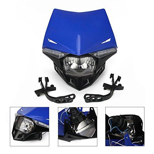 Blue Universal Headlight Head Lamp Light Fairing Street Fighter Mask Day Running Light Turn Signal Lights For Yamaha YZ125 YZ250 YZ250F YZ450F WR250F WR450F