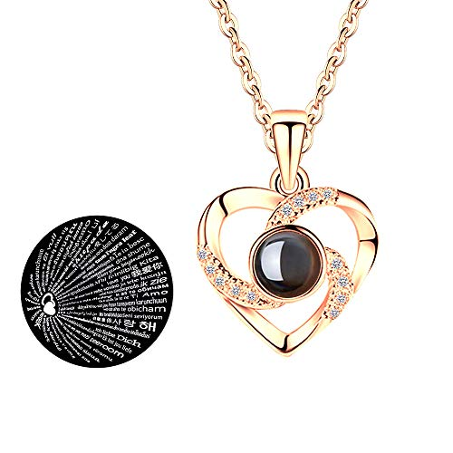 Hantaostyle I Love You Necklace, 925 Silver 100 Languages Projection on Round Onyx Pendant Loving Memory Collarbone Necklace(925 Silver Heart-Shaped Gold)