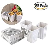 ASIBT 90Pcs Popcorn Boxes,Popcorn Favor Boxes Cardboard Candy Container,Silver Wave Pattern(30pcs), Stripe(30pcs) and Polka Dot(30pcs)