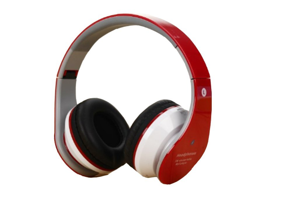 Headphones Over Ear,Bluetooth Hi-Fi Stereo Wireless Headset Compatible with Smart phones/Tablets/laptops/TVS (Red)