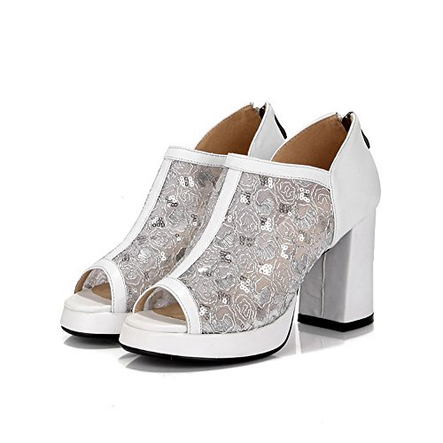 Amoonyfashion Mujeres High-heels Soft Material Solid Zipper Peep-toe Sandalias Blanco