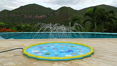 Little Lab Creations 67in-Diameter Sprinkle & Splash Party Pad Play Mat | Outdoor Water Toys Fun for Kids, Toddlers and Babies | Exclusive Beautiful Design