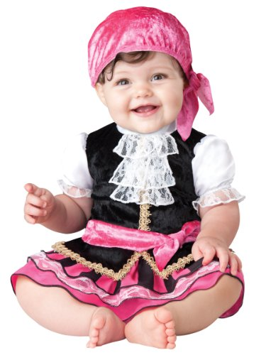 InCharacter Baby Girl's Pretty Little Pirate Costume, Pink/Black, Medium -