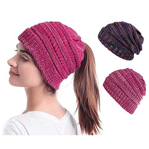 EMISK 2 Pack Womens Beanie Ponytail Hats Messy Bun Beanie Tail Skull Cap Soft Ribbed Hat Winter Knit Stretch Beanie Hat