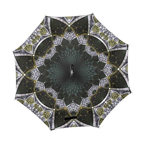 double couche la inversé et voiture noire florale l'utilisation à pour Coosun florale Revers parapluie de extérieure de qAwISI