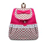 Phenas Girl's Lovely Sweet Bowknot Leisure Canvas Backpack for Student (Rose)