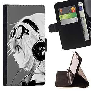 Jordan Colourful Shop - Music Headphones Girl Magna Glasses For Apple Iphone 5C - Leather Case Absorci???¡¯???€????€????????&ce