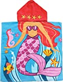 Kreative Kids Mermaid W/Seashells 100% Cotton Poncho Style Hooded Bath & Beach Towel with Colorful Double Sized Design
