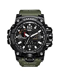 Mens Large Dual Dial Analog Digital Quartz Sport Watch Multifunction Two Timezone 24H Military Time Waterproof Casual Back Ligh 50M Waterproof Resistant Day Date