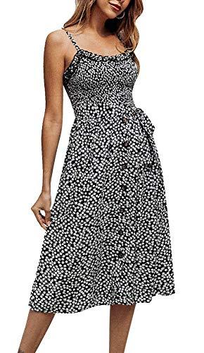 Womens Summer Boho Beach Midi Dress Casual Vintage Floral Print Swing Sundress - Button Strap Dress Belted