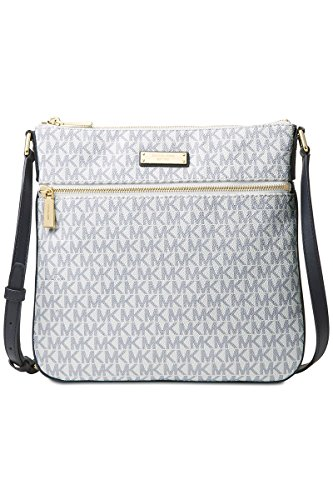 Michael Kors Signature Bedford Flat Small Crossbody OPTIC/NAVY by MICHAEL Michael Kors