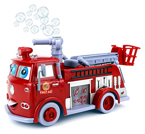 Cartoon Fire Rescue Pumper Bubble Blowing Bump & Go Battery Operated Toy Truck w/ Extending Crane, Lights & Sounds (Train Station Tent)