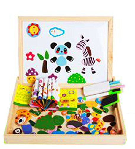 wooden magnetic board puzzle set - anthonygift colorful magnetic puzzles toys double face drawing rubber chalk album easel games education toys for - Toy Double Face