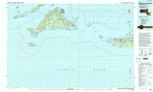 YellowMaps Martha s Vineyard MA topo map, 1:100000 Scale, 30 X 60 Minute, Historical, 1994, Updated 1994, 24.1 x 40 in - Paper
