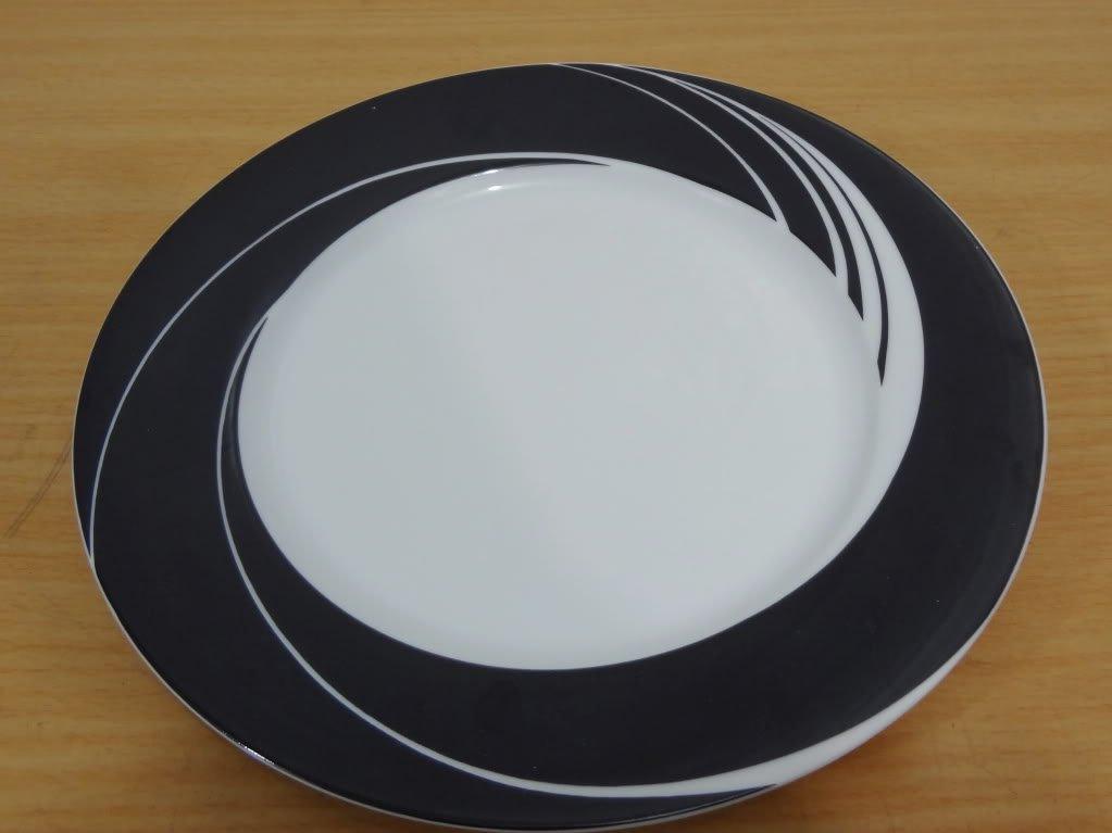 4 BLOCK SPAL SALAD PLATES WHITE PEARL JEWELS BLACK SWIRLS CHINA